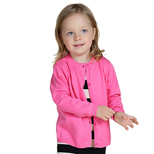 Wennikids Baby Girls' Little Knit Cardigan Button Sweater for 12M-6T Medium Hot Pink