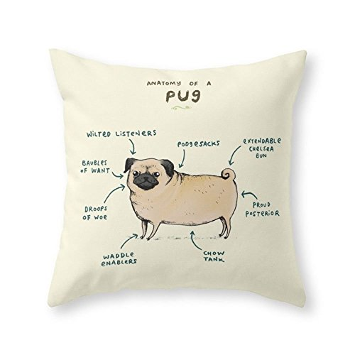 Society6 Anatomy Of A Pug Throw Pillow Indoor Cover (16'' x 16'') with pillow insert by Society6