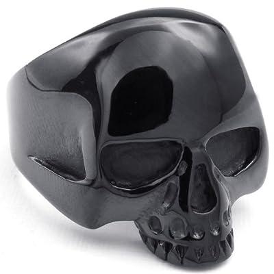 KONOV Jewelry Mens Stainless Steel Ring, Gothic Alien Skull, Black