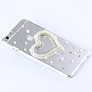 LIMME DIY Attractive Heart with Rhinestone and Bead Pattern Plastic Hard Cover for iPhone 6 Plus