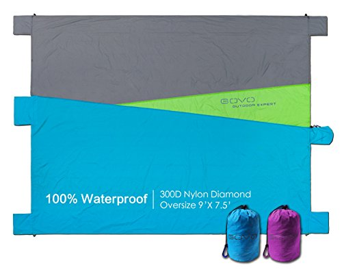 Beach Blanket Picnic Mat Waterproof Oversize 9'X7.5'/ Lightweight/Build in 6 Sand Anchors Valuables Pockets Plus 4 Plastic Ground Stakes/Multipurpose by GOVO