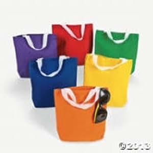 12 Blank Small Asst Color Canvas Teacher Craft Tote Bag
