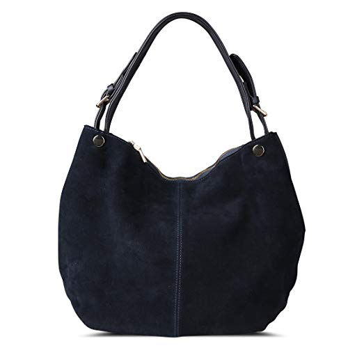Nico Louise Women's Genuine Leather Suede Purse Shoulder Bag Casual Hobo bag(Deep Blue)