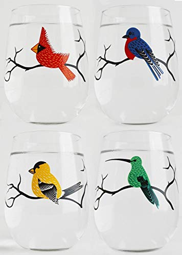 Four Stemless Wine Glasses, Set of 4 Bird Glasses, Bird Glassware