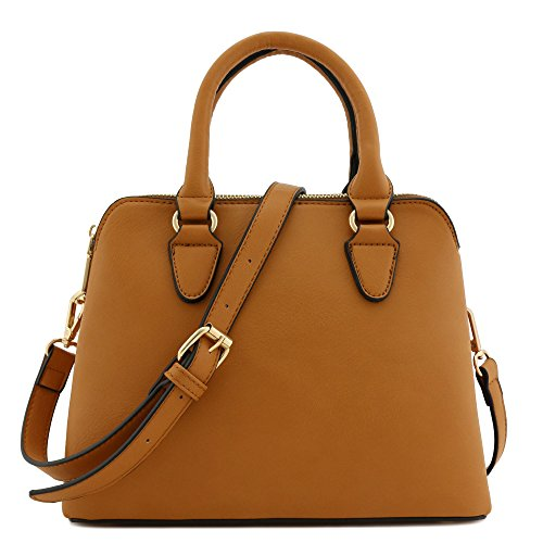 Classic Double Zip Top Handle Satchel Bag (Light Tan) (Bag Satchel)