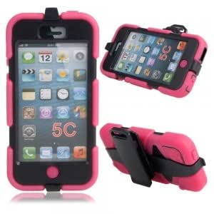 Hard Plastic Protective Case w/ Stand Holder for iPhone 5C Rose