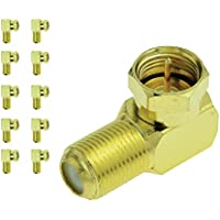 Mediabridge F-Type Right Angle Adapter - Gold Plated - 90° Female to Male Connector - 10 Pack - (Part# CONN-F81G-RA-10 )