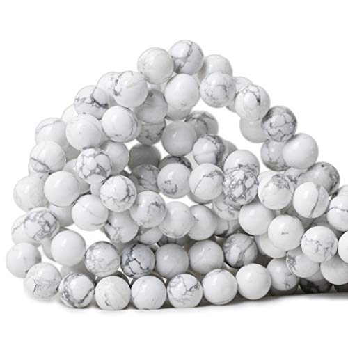 CHEAVIAN 10mm 35PCS Natural White Howlite Gemstone Round Loose Stone Beads for Jewelry Making DIY Crafts Design 1 Strand 15""
