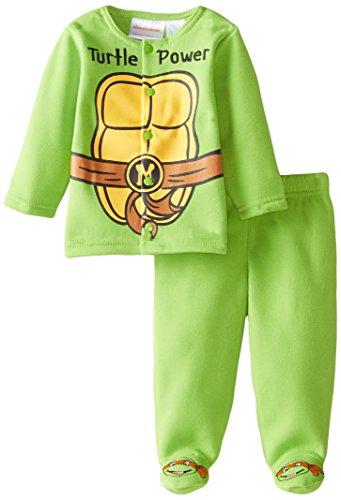 Pant Kids Turtle - Nickelodeon Baby Baby-Boys Infant Ninja Turtle Newborn Fleece Jacket Pant Set with Footies, Green, 3-6 Months