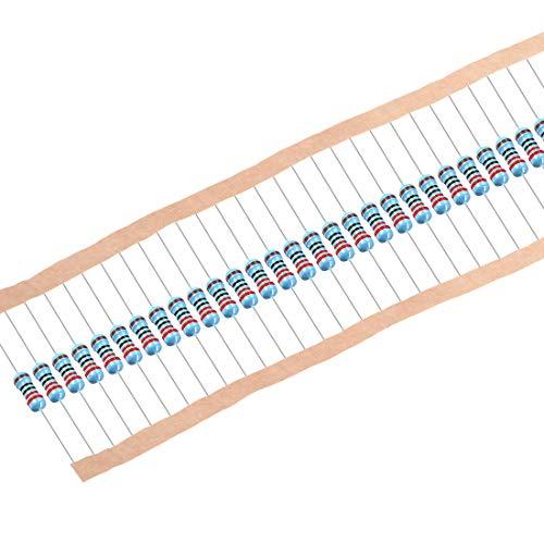uxcell 300 pcs Metal Film Resistors 220 Ohm 0.25W 1/4W 1% Tolerances 5 Color Bands