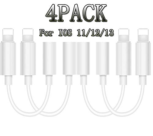 Aristokool Lightning to 3.5 mm Headphone Adapter Earphone Earbuds Adapter Jack 4 Pack,Compatible with iPhone11 Pro Max X/XS/Max/XR/8/8Plus/ iOS11/12/13 Plug and Play Marine GPS Chartplotters(White)