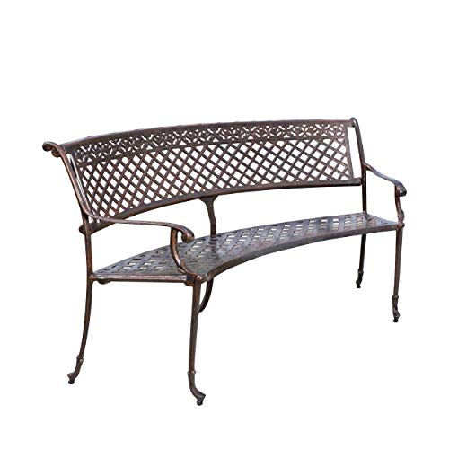 Great Deal Furniture 294966 Bainbridge Outdoor Antique Copper Cast Aluminum Bench (Bench Backless Curved)