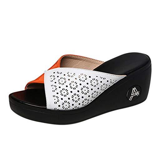 Women's Wedge Platform Slide on Sandals Open Toe PU Sandals Summer Fashion Slippers Thick Bottom Sandals