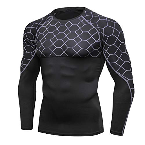 Sunhusing Men's Print Long-Sleeve Training Tight-Fitting Sports Athletic Shirt Quick-Drying Running Clothes