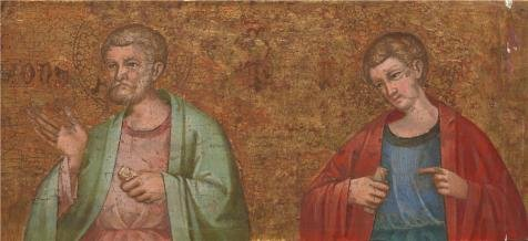Perfect Effect Canvas ,the Replica Art DecorativePrints On Canvas Of Oil Painting 'Dalmatian - Two Apostles - Fragment Of Predella (1),about 1400', 18x39 Inch / 46x100 Cm Is Best For (Chewbacca Utility Belt Costume)