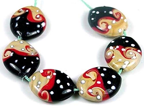 Loose Beads 25x20mm Lampwork Handmade Glass Black Caramel Red Ocean Wavy Oval Beads (5) Jewellery Maker Crafts