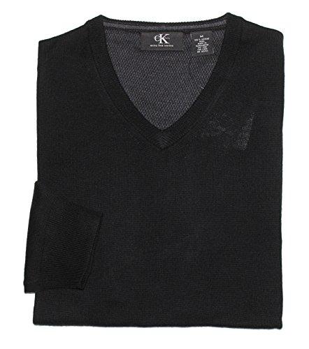 Calvin Klein Men's V-Neck Merino Wool Sweater (Large, Black)