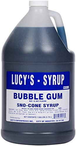 - Lucy's Family Owned - Shaved Ice Snow Cone Syrup, Bubble Gum - 1 Gallon (128oz.)