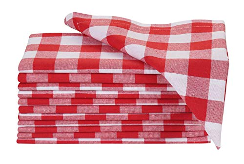 (Dinner Napkin Gingham Plaid Check, 100% Cotton Napkin, Wedding Napkins, Cocktails Napkins, Fabric Napkins, Cotton Napkins, Mitered Corners & Generous Hem, Set of 12, 18x18 inches, Red White Checks)