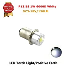 1x P13.5S 1W LED Upgrade Flashlights Bulb for C/D 3-18V Maglite Torch Light, 150 Lumens, White 6000k, Positive Ground