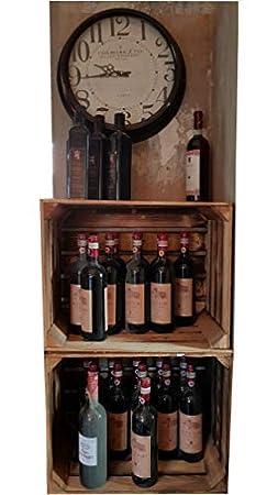 Vino Frutas Cajas Cajas de madera maciza, color natural y nuevo Sets de blumenkübelxxl, madera, GEFLAMMT, 2 unidades: Amazon.es: Hogar