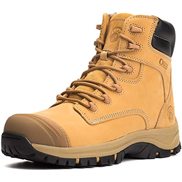 OUXX Men's Steel Toe Work Boots Safety Waterproof Boots Non-Slip Durable Industrial Construction Puncture-proof Shoes
