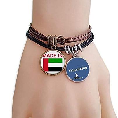 YMNW Made Arab Emirates Country Love Friendship Bracelet Leather Rope Wristband Couple Set Estimated Price -
