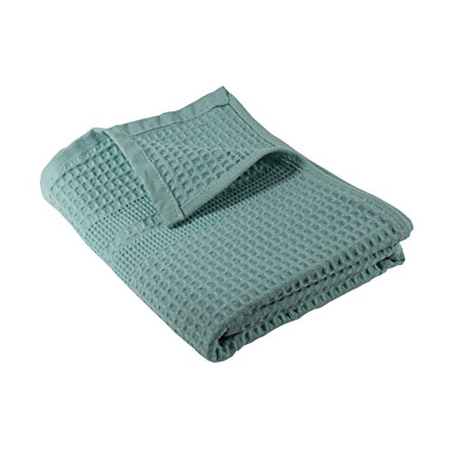 Gilden Tree Premium Hand Towel 100% Natural Cotton Waffle Weave Highly Absorbent & Quick Drying Lint Free Extra Soft Feel Thin Cloth (Seafoam)