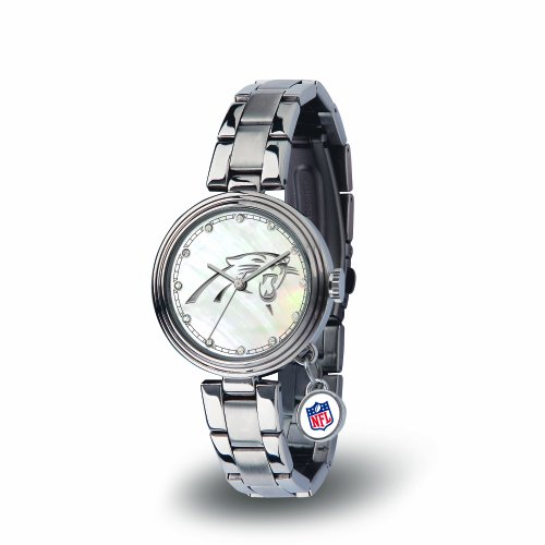 Rico Industries NFL Carolina Panthers Charm Watch, Silver (Panthers Sports Watch)