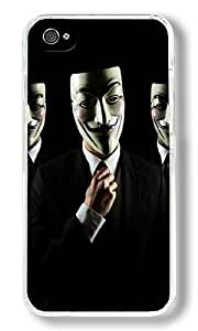 Anonymous Guys Custom iPhone 4S Case Back Cover, Snap-on Shell Case Polycarbonate PC Plastic Hard Case white