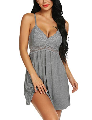 Ababoon Women Lace Modal Sleepwear Chemises V-Neck Full Slip Babydoll Nightgown Gray