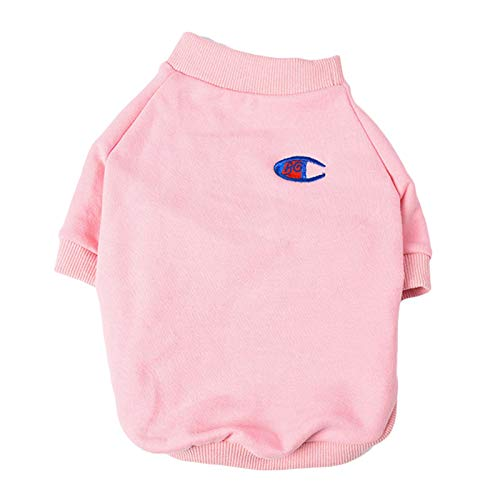 BinetGo Pet Warm Clothes for Dog T-Shirts Velvet Lining Eye Embroidery Pullover Cotton Cat Shirts for Doggie Clothes (M, Pink)