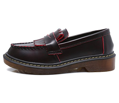 Smilun Unisex-Adult Moccasins Fashion Comfortable Smooth Leather Women Red Size 7.5 B(M) US by Smilun (Image #2)