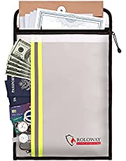 ROLOWAY Fireproof Document Bag (15 x 11 inch) with 2 Pockets & Waterproof Zipper, Fireproof Money Bag, Fire Safe Bag with Reflective Strip, Fireproof Envelope for Cash, Legal Documents Safe (Silver)