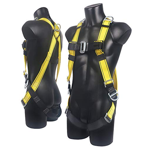 Xben 5 D-Ring Roofing Fall Protection Safety Harness, Full Body Fall Arrest Harness Equipment Kit for Aerial lift, Ironworker, Scaffolding, Tower, Carpenter, Construction