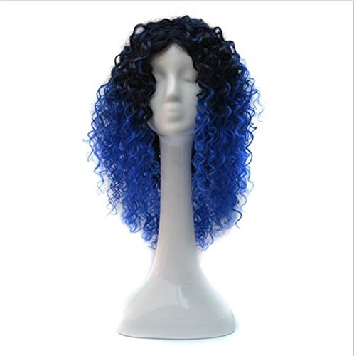 Ombre Grey Synthetic Wigs For Women Heat Resistant Short Bob Natural Kinky Curly Afro No Lace Wigs (black blue)