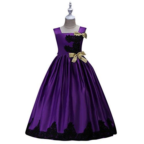 120cm Party Long Dress Sleeveless Princess Girl Dress-Purple - 8