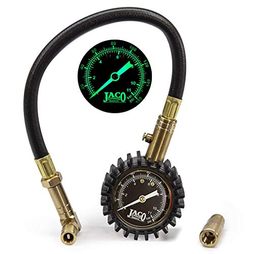 JACO BikePro Presta Tire Pressure Gauge 160 PSI - with Interchangeable Presta and Schrader Valve Air Chucks - for Hybrid & Road Bikes (Bike Tire Gauge)