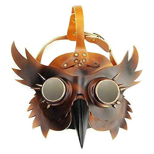 Steampunk Plague Beak Mask Gothic Cosplay Retro Doctor Bird Mask Brown Black Rivet Halloween Cosplay -