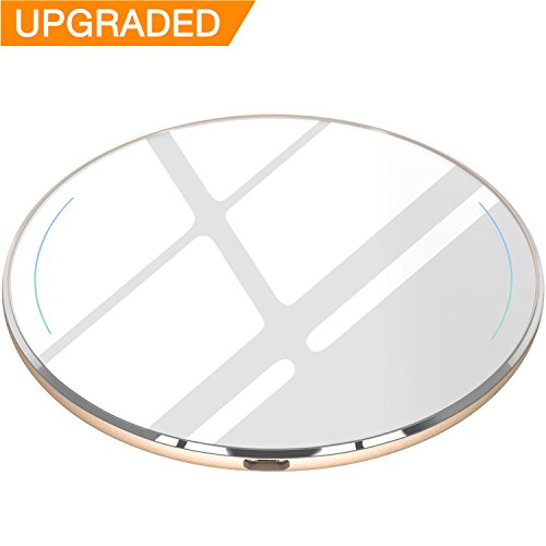 TOZO for iPhone X Wireless Charger [Upgraded], [Ultra Thin] Aviation Aluminum [Sleep-friendly] Fast Charging Pad for iPhone X / 10 / 8 / 8 Plus, Samsung Galaxy S8, S8+, Note 8 [Gold] - NO AC Adapter