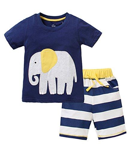 Favorland Little Boys' Baby Toddler Kids Cotton Summer T-Shirt Shorts Set(4T,Navy) (Tee Toddler School)