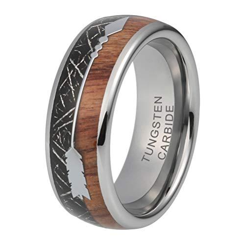 iTungsten 8mm Tungsten Rings for Men Women Wedding Bands Koa Wood Black Meteorite Inlay Two Arrows Around Comfort Fit ()