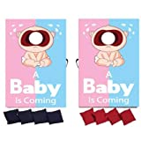 VictoryStore Cornhole Games - Gender Reveal Cornhole Game - A Baby is Coming Pink Blue Design (Light Skin)