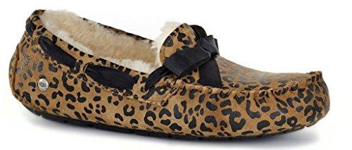 UGG Women's Dakota Leopard Bow Chocolate Satin Slipper 6 B (M) (Ugg Slippers Women Dakota)