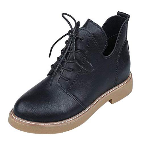 6 Black colore Uk Tonda Donna A Dimensione Stringati Leather Brown Suede Da Stivaletti Eeayyygch Punta q1TwRxx