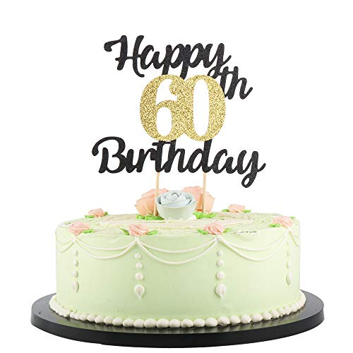 LVEUD Happy Birthday Cake Topper Black Font Golden Numbers 60th Birthday Happy Cake Topper -Birthday Party Decorations (60th) -