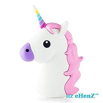 eHenZ® 3300mAh Batería de respaldo externa blanca Unicorn PINK 135GRS, 5V, funda incluida, 2 cables 2A USB 1 cable Android, se ofrece 1 cable ...