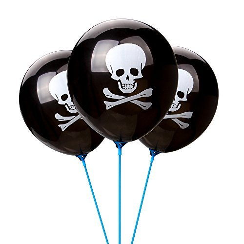LOKMAN Halloween Balloons, 100pcs 12 Inches Ultra Thickness Skull Latex Balloons for Happy Halloween's Day, Holiday Season Party Decoration (Skull) -