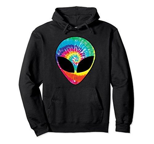 Unisex Rainbow Tie Dye Alien Head Cool Tye Die Trippy Rave Hoodie XL: Black ()