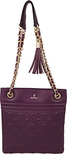 B BRENTANO Vegan Medium Double-Quilt Stitch Crossbody Handbag Purse with Chain Strap & Tassel Accent (Purple)